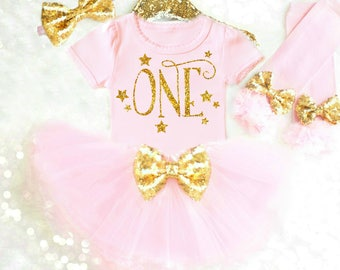Pink and Gold First Birthday Outfit, Pink 1st Birthday Outfit Pink and Gold Cake Smash Outfit Girl Smash Cake Outfit Pink Birthday Tutu 17