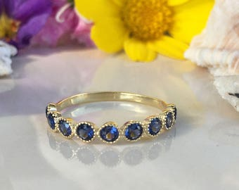 20% off-SALE!! Blue Sapphire Ring - September Ring - Delicate Ring - Stack Ring - Gold Ring - Dainty Ring - Bezel Ring - Gemstone Band
