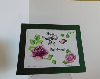 Valentine Friend Card / Happy Valentine for My Friend, Special Friend Card, Purple roses Happy Valentine's Day Card, Greeting Cards