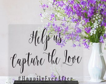 Help us Capture the Love/Hashtag/# sign/Reception Sign/Wedding Decor/Instagram