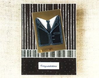 Black and white man's card with a gift card wallet - congratulations card - hand made male monochromatic card - birthday card for man