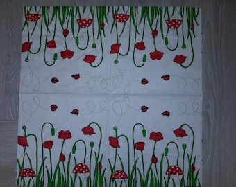 Ladybug and mushrooms flowers paper napkins