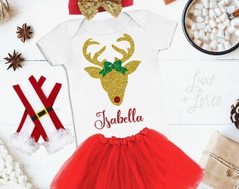 Reindeer Girl Christmas Outfit Baby, Name, Deer Christmas Outfit, Toddler Christmas Outfit, Christmas Outfit, Christmas Shirt, Personalized