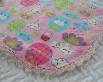Baby Blanket, Receiving Blanket, Hot Air Balloons, Crocheted Edge, Baby Girl, Summer Weight Flannel Blanket, Pink Blanket, Baby Shower Gift