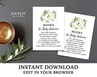 Bring a Book Cards, Baby Shower Book Inserts, White and Gold, Editable and Customizable, Printable PDF file - BRYNNE Collection