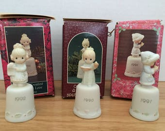 Vintage Enesco Precious Moments Collection Thimbles - Once Upon a Holy Night, But the Greatest of These is Love, May Your Christmas Be Merry