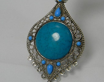 Synthetic Turquoise Antique Silver Metal Pendant Focal ,DeepSkyBlue Large 9 Hole Pendant, Chunky Pendant