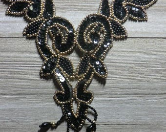 Sequin beaded applique,Black and gold bodice,skating costume, belly dance costume,gymnastic costume, prom dress, mardi gras,carnival trim