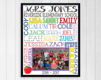 GIFT FOR TEACHER ~ Class Photo Gift ~ Teacher Appreciation Gift from Class ~ Teacher Gift ~ Student Names Photo Gift ~ End of Year Gift