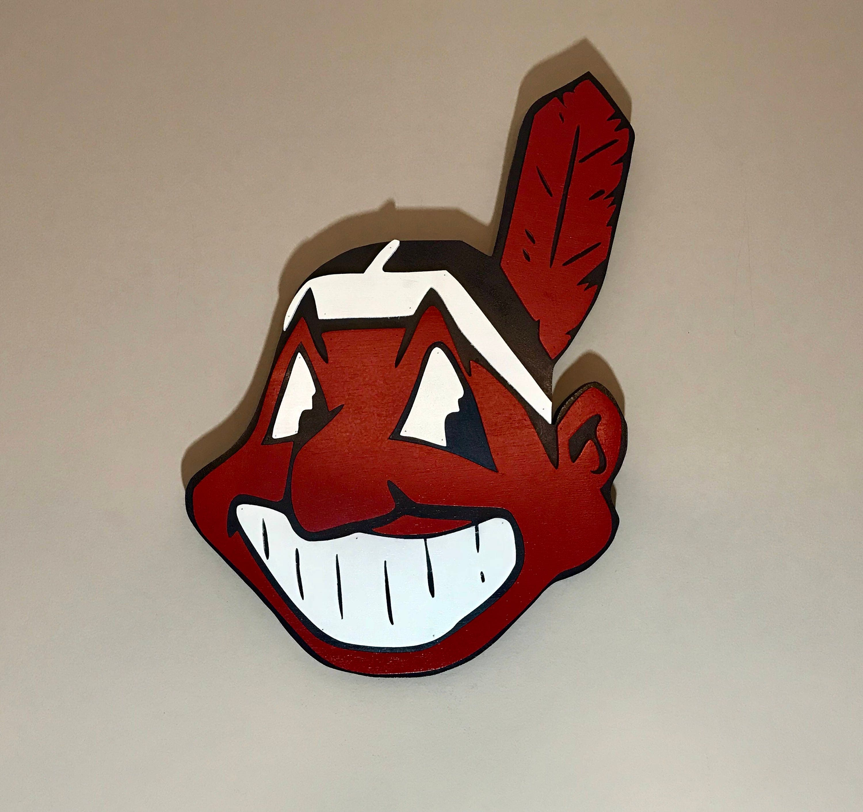 Cleveland indians chief wahoo 3d hand scrolled wood logo wall zoom biocorpaavc Choice Image