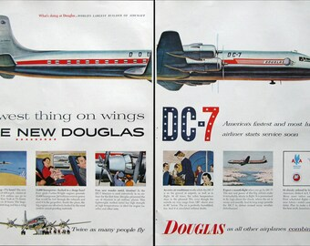 1953 Douglas Aircraft Ad - 1950s Douglas DC-7 Airplane - Commuter Plane Transportation Ad - Midcentury Aviation