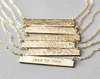 Personalized gold bar necklace custom name bar necklace customized hammered name bar necklace personalized or blank bar necklace in silver gold aloadofball Image collections