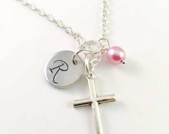 Personalized Cross Necklace, Initial Cross necklace, personalized cross jewelry, Confirmation necklace, Religious For Mother, gift for her