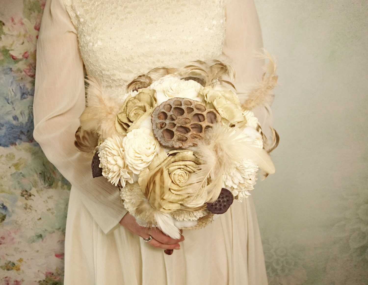 READY to SHIP Cream brown rustic boho wedding BOUQUET Ivory Flowers ...