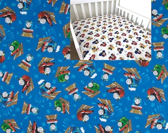 Cotton Thomas Train Fitted Crib Sheet Transport Toddler Bedding Sheet Disney Nursery Changing Pad Cover Mini Crib Twin Full Queen Sheet