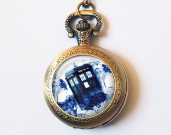 Doctor Who Pocket Watch Necklace, Tardis in Blue Mist, Police Box, Vintage Gold or Silver Pocket Watch