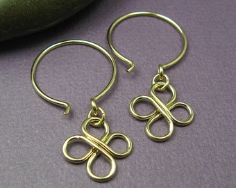 Gold Earrings Dainty Earrings Minimalist Earrings Clover Earrings Gift for Her Dangle Earrings Drop Earrings