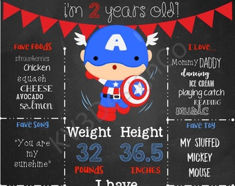Mutiple Designs - 16x20 Captain America Avengers Superhero Birthday  Poster Sign (all ages)