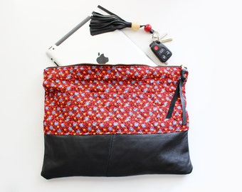 Quilted Red Floral & Black Leather Oversize Foldover Clutch / Ipad Sleeve
