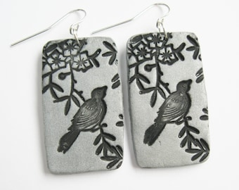SALE Silver Songbird Asian Floral Earrings, Handmade Jewelry from theshagbag on Etsy