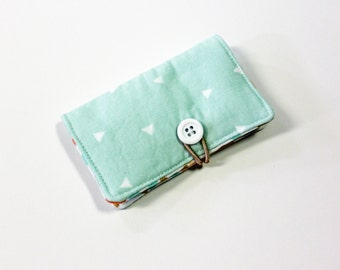 Green Mini Triangle Fabric Business Card Holder, with Coral Soft Broken Chevron - Credit Card Holder, Cloth Card Holder, Gift Card Holder
