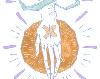 Dans vos mains | 11 x 14 po. Impression d'art | grunge pastel de hipster mode minimaliste et goth peinture
