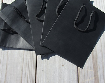 50 Pack - Black Gift Bags 6.25x3.5x8.5 Heavy-Weight Paper