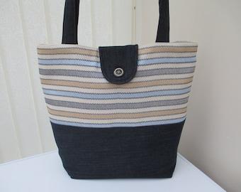 Tote bag/market bag/shopper/everyday work tote/ denim shopping bag