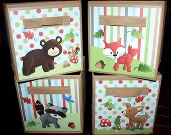 4 Forest Animal Woodland Friends Fabric Bins Boys Girls Bedroom Baby Nursery Organizer for Toys or Clothing 4FB002