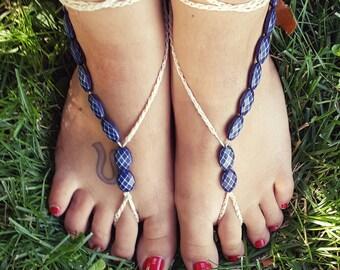 Blue Barefoot Gladiator Sandals
