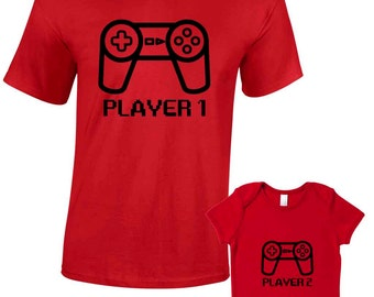 Player 1 Player 2 T-Shirts or Baby Grow - Matching Father Child Gift Set (2 shirts) - Father's Day Present Mum Son Daughter Dad Play Station