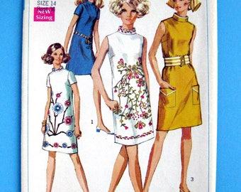 Simplicity vintage pattern 7985 Misses Dress size 14 bust 36 cut complete pattern
