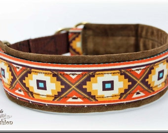 Dog collar ETHNO, Martingale, brown orange