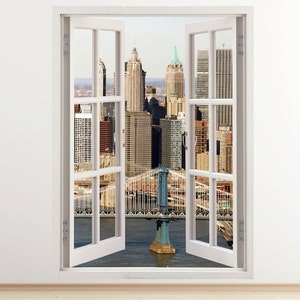 New York Wall Decal Vertical 3D Window, Manhattan Bridge Wall Sticker For Home  Decor,