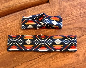 Mommy & Daughter Headbands / Blue Navajo / Mommy and Me