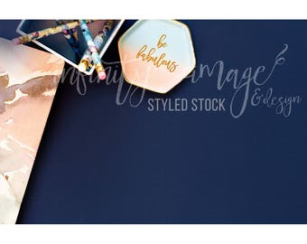 Blue Horizontal Styled Stock Product Photography Background w/Pink Notebook, Journal, Pens, Wallet, Jewelry Holder / High Res File #INF132SS