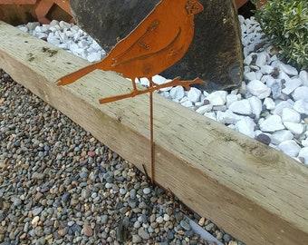 Cardinal Bird Stake, Outdoor Metal Garden Art, Metal Yard Art, Rustic Decor, Bird Art, Red Cardinals