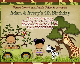 Sibling jungle invite, sibling party, twin safari invite, Jungle theme,  Safari invite,  Zoo Birthday Invitation, zoo party - Digital File