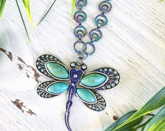 Dragonfly Statement Necklace/Dragonfly Jewelry/Dragonfly Pendant,Dragonfly Necklace/Nature Inspired Jewelry/Forest,Woodland/Nature Lover