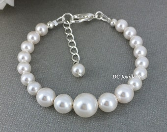 Wedding Jewelry Bridesmaid Gift Bridal Jewley Maid of Honor Jewlery Swarovski Bracelet Swarovski Jewelry Pearl Bracelet