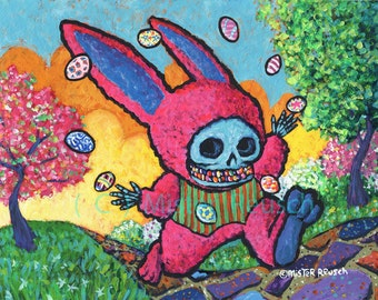 Skeleton Easter Bunny Juggling Eggs Original Painting by Mister Reusch