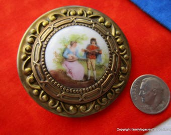 0247 - Extra Large Ceramic Pastoral Scene Set in Brass Antique Button, Lady Playing Middle Ages Necked Bowl Lute with Man, Just Under 2""