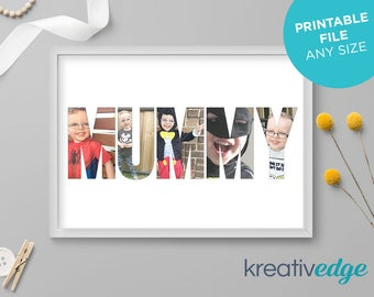 PERSONALISED Photo Name Print! Custom Name Print, Name Sign, Birthday Gift idea, Mom, Mommy, Mum, Mummy, Grandma, Nan. Any size, any name!