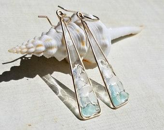 Sea Glass Mosaic Earrings, Beach Glass Triangle Earrings, Resin Sea Glass Dangle