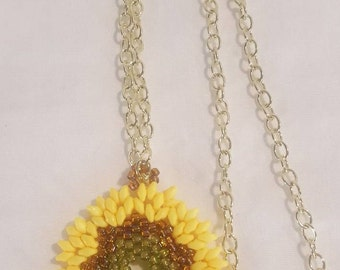 Sunflower pendant beaded pendant yellow pendant gift for her hand crafted jewelry fun necklace summertime necklace