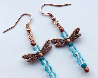 Turquoise Blue Beaded Dragonfly Earrings With Copper