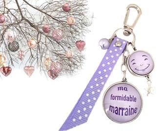 Marraine,cadeau porte-clés bijou de sac a message thème formidable marraine parme.REF.97