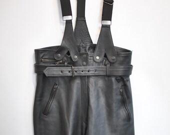 Vintage MOTORCYCLE LEATHER PANTS , women's biker pants ............(081)