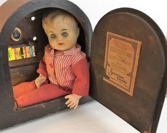 Doll Head Mantle Clock 'Reginald' Vintage Creepy Baby Doll