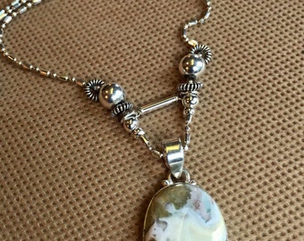 pendant, Necklace, Sterling Silver and Ocean Jasper